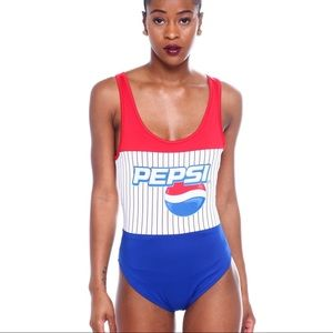 NWT PEPSI Red White Blue logo One piece swimsuit L